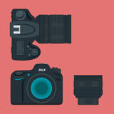 SLR camera and lens icon flat style Royalty Free Stock Photo