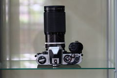 SLR CAMERA LOOKING FROM THE TOP Stock Images