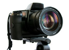 SLR Camera on tripod Stock Photo