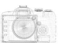 SLR camera. Wire frame Royalty Free Stock Images