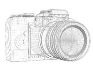 SLR camera. Wire frame Stock Photography