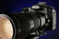 SLR digital camera with Tele photo zoom lens Royalty Free Stock Photos