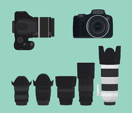 Slr dslr camera collection with lens. Vector illustration Royalty Free Stock Photo