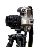 Slr/dslr camera mounted on tripod Stock Photography