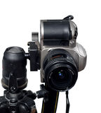 Slr/dslr camera mounted on tripod Stock Images