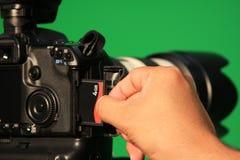 SLR e scheda di memoria Fotografia Stock