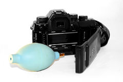 SLR film camera and accessories. A SLR film camera and accessories Stock Images