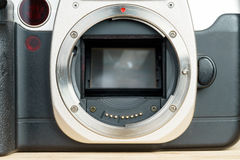 SLR film camera body, metal bayonet lens mount closeup Royalty Free Stock Images