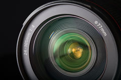 SLR zoom lens close-up. Close-up of the front of a zoom lens Stock Photos