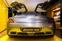 SLS AMG back. Mercedes SLS AMG in the iconic stars showroom on the Champs Elysees in Paris, France, on February 20, 2014 Royalty Free Stock Photo
