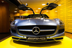SLS AMG front. Mercedes SLS AMG in the iconic stars showroom on the Champs Elysees in Paris, France, on February 20, 2014 Royalty Free Stock Image