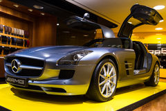 SLS AMG 63. Mercedes SLS AMG in the iconic stars showroom on the Champs Elysees in Paris, France, on February 20, 2014 Stock Image