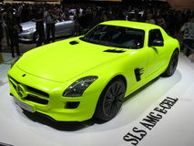 Mercedes SLS E-Cell. 2011 Mercedes SLS AMG E-Cell in his bright yellow paint exposed at the Geneva Autoexpo as a display of the state of art of electric engines Stock Photos