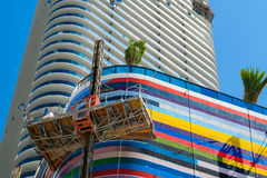 SLS Lux Brickell. Miami, Florida - August 17, 2017: Close up view of the nearly finished construction of the colorful SLS Lux Residences in the popular downtown Royalty Free Stock Photos
