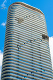SLS Lux Brickell. Miami, Florida - August 17, 2017: Close up view of the nearly finished construction of the SLS Lux Residences in the popular downtown Brickell Royalty Free Stock Photos