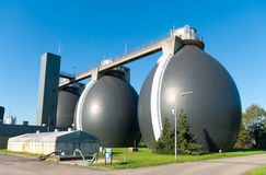 Sludge digestion tanks. Sludge digestion installation on a waste water plant. Here is methane produced and used for the energy supply for the plant Stock Images