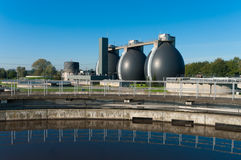 Sludge digestion tanks. Sludge digestion installation on a waste water plant. Here is methane produced and used for the energy supply for the plant Stock Photo