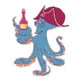 Slugheten bläckfisk-piratkopierar med en flaska av alkohol i tentaklen berusat stock illustrationer