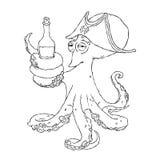 Slugheten bläckfisk-piratkopierar med en flaska av alkohol i tentaklen berusat royaltyfri illustrationer