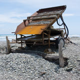 Sluice box to extract alluvial gold, West Coast NZ Stock Image