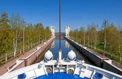 Sluice of the channel Volga-Don Lenin's name Stock Photography