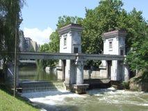 Sluice dam. Hoisting gear bridge in Ljubljana Royalty Free Stock Image