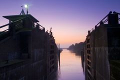 Sluice at dawn Stock Photo