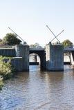 Sluice Dokkumer Nieuwe Zijlen, Friesland, Holland Stock Photos
