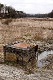 Sluice of the empty pond. Rusty sluice of the empty and scrubby pond Stock Photo