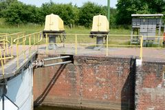 Sluice gate end electric devices Stock Image