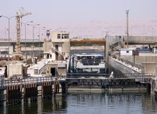 Sluice gate on the Nile. River, Egypt Royalty Free Stock Images
