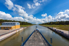 The sluice Magdeburg Rothensee, Saxony Anhalt, Germany. The sluice Magdeburg Rothensee between the river Elbe and the canal Mittellandkanal, Saxony Anhalt Royalty Free Stock Photography
