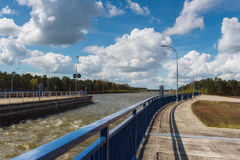 The sluice Magdeburg Rothensee, Saxony Anhalt, Germany. The sluice Magdeburg Rothensee between the river Elbe and the canal Mittellandkanal, Saxony Anhalt Royalty Free Stock Image