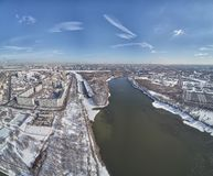 Sluice number 10 on the Moscow river in kolomenskoe district, aerial view, winter drone. A lot of snow and ice stock photo