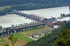 Sluice with power station in Donau Stock Image