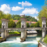 Sluice on the River Ljubljanica, Ljubljana. Royalty Free Stock Images