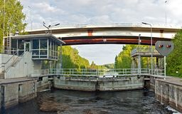Sluice in Saimaa channel Royalty Free Stock Photography