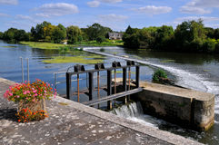 Sluice on the Sarthe river in France Royalty Free Stock Photo