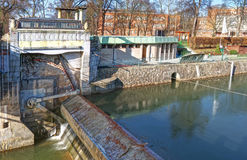 Sluice in town Stock Images