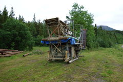 Sluicebox used for mining gold in the yukon territories. Royalty Free Stock Photo