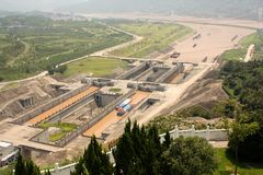 Sluices of Three Gorges Dam stock photos
