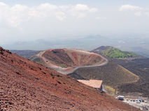 Sluimerende krater van de vulkaan Etna in Sicilië Italië Royalty-vrije Stock Fotografie