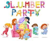 Sluimerpartij met meisjes in pyjama's thuis vector illustratie
