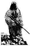 Sluipschutter met camouflagekostuum Royalty-vrije Stock Foto's