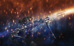 Sluipschuttergeweer met bi-peul en gecamoufleerd werkingsgebied op een zwarte achtergrond met abstracte verlichtingsgevolgen Royalty-vrije Stock Foto's