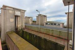 Sluis Stevinsluis in Nederlandse Delta de Vloedbescherming van het de Werkenonweer Royalty-vrije Stock Foto's