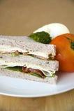 Sluit bacon en kippen omhoog sandwich stock fotografie