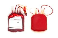 Sluit bloed en plasma omhoog groep A en achterkant op wit stock afbeelding