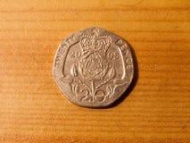 sluit boven 20p pence omhoog zilveren muntstuk het echte UK Royalty-vrije Stock Fotografie