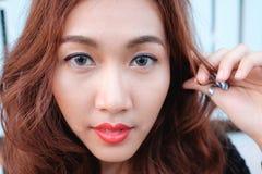 Sluit gezichts omhoog Aziatische schoonheid Royalty-vrije Stock Foto